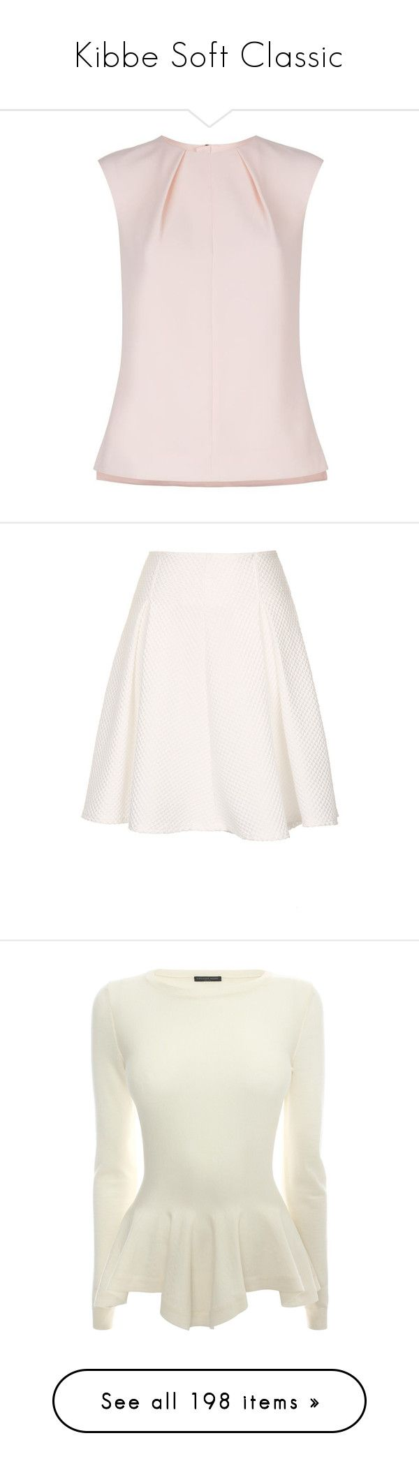 """""""Kibbe Soft Classic"""" by krstern ❤ liked on Polyvore featuring tops, ted baker, shell tops, crepe top, pink shell top, woven top, skirts, mini skirts, bottoms and faldas"""