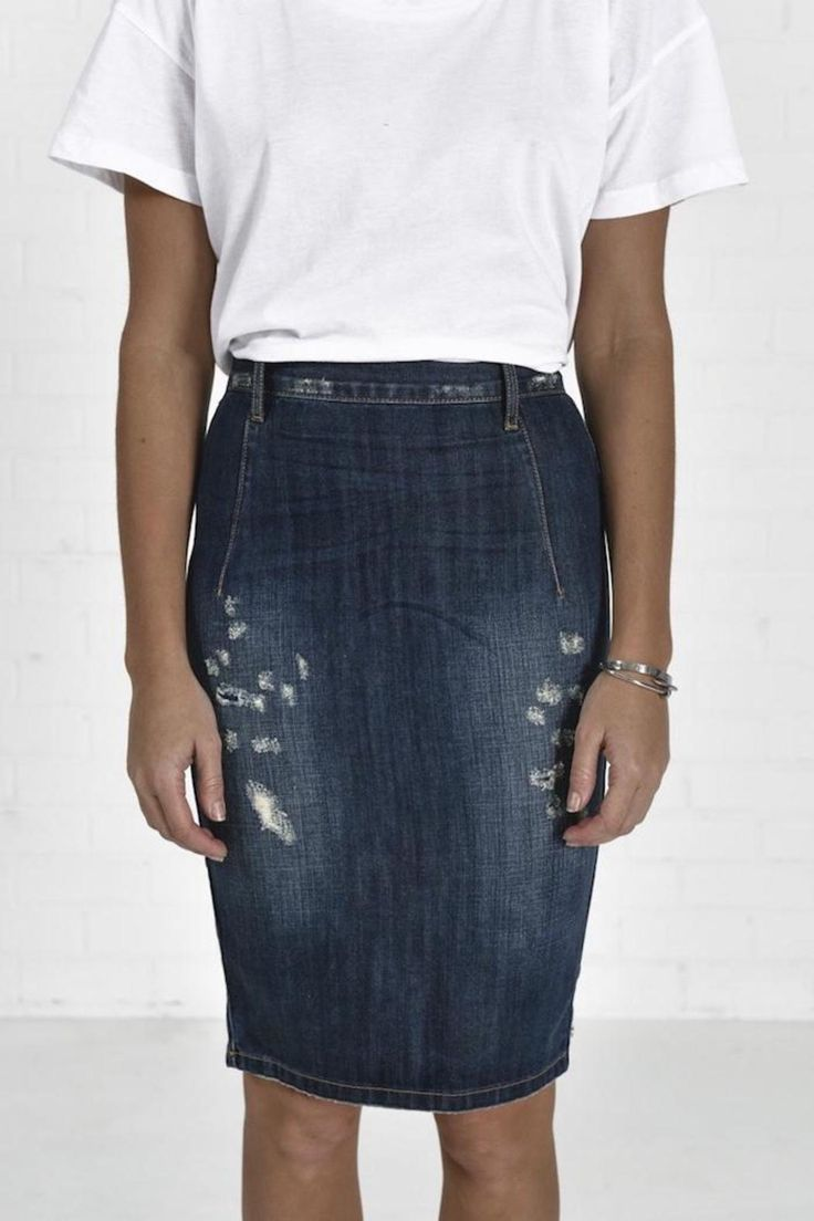 25  best ideas about Distressed jean skirt on Pinterest | Jean ...