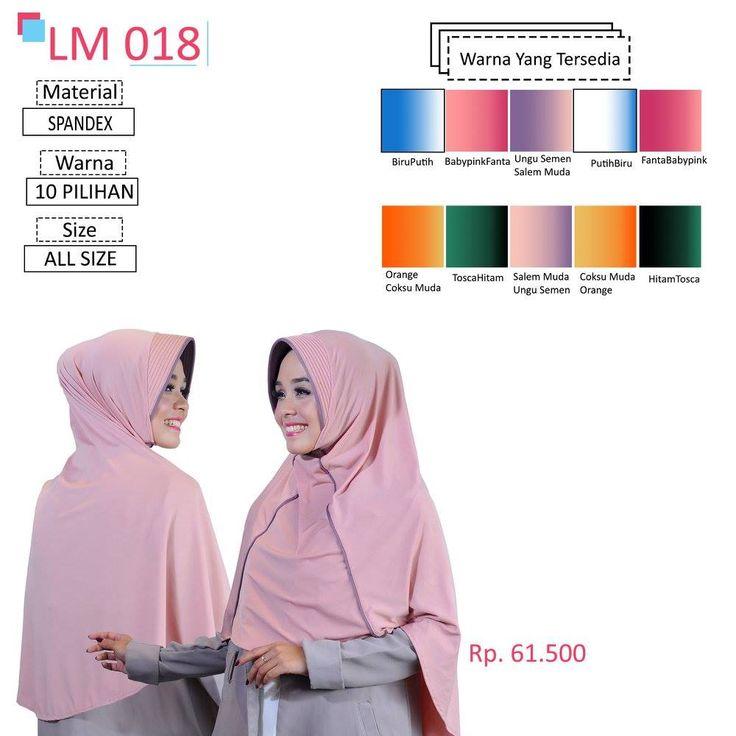 LM 018 Lamia Hijab - Kerudung Bergo Syar'i bahan kualitas premium, nyaman dipakai dan anti gerah. Material : Spandex. Size : All Size. #lamiahijab #hijabindonesia #kerudunginstan #bergo