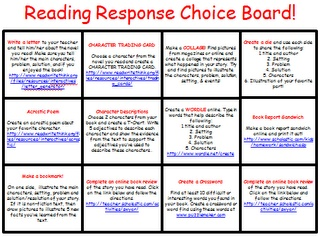 Reading Response Choice Board. Great way to differentiate.