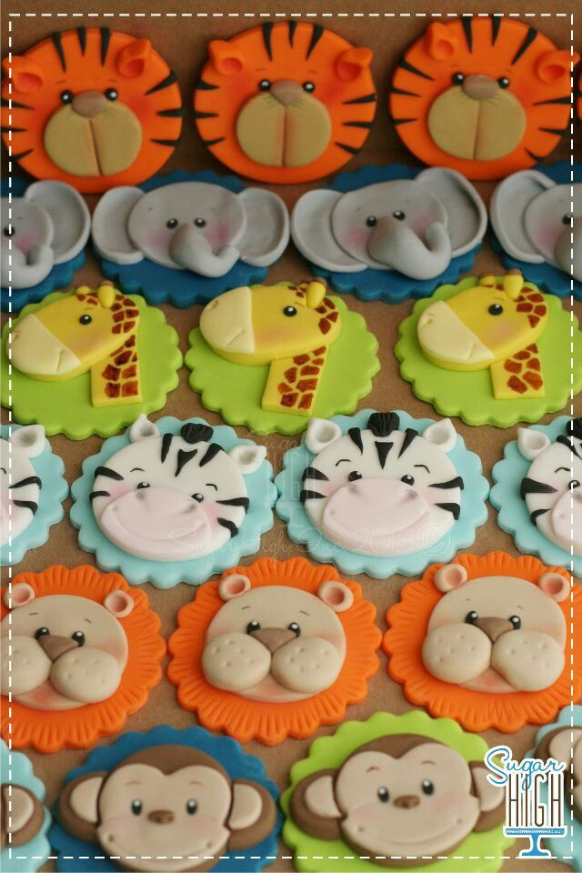 Cupcake toppers - fondant jungle animals