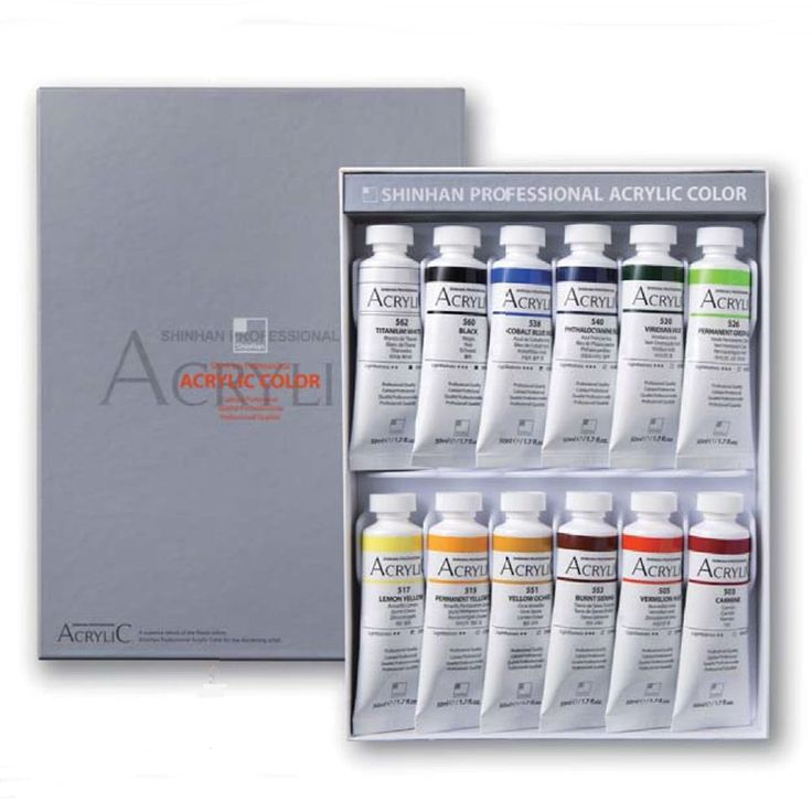 Acrylic Color Paint Shinhan Professional A 12 Colors 50ml Tube, Artist Drawing #Shinhan