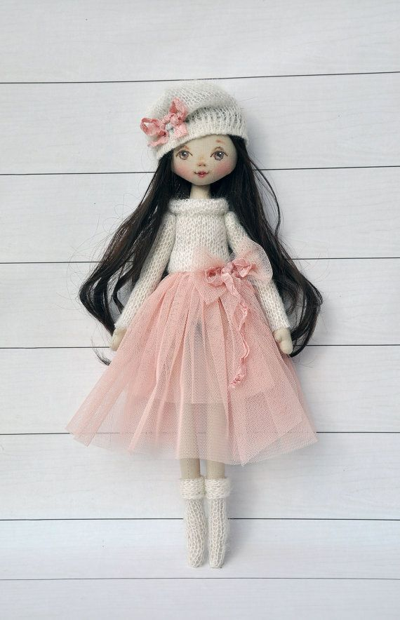 ballerina Doll,Textile doll, decorative doll,collectible dolls , doll cotton, rag doll Height of doll 36cm (14,5 inches) Doll is sewn of natural