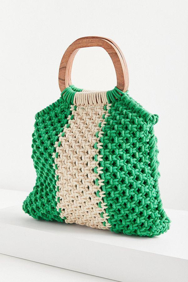 Wood Handle Stripe Macrame Tote Bag Makramee Tasche Taschen Sommertaschen