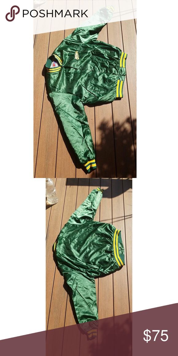 ONE OF A KIND vintage satin bomber🌱🌟 Selling for my bf🌟 vintage one of a kind satin baseball bomber jacket😍 oversized fit but looks good on both men and women! Worn only a handful of times by him #baseball #A's #satinbomber #vintagebomber #baseballbomber #vintage #bomber #bomberjacket Urban Outfitters Jackets & Coats Bomber & Varsity