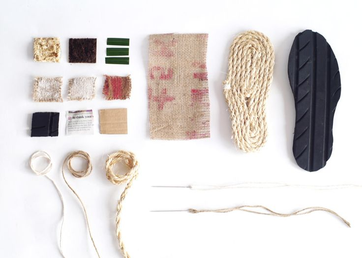 Disused tyres, sacks and rope are recycled into footwear for the developing world in this project.