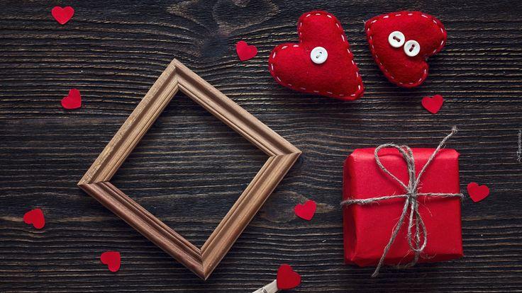 Miłosne, Walentynki, Serca, Serduszka, Deski, Prezent, Ramka