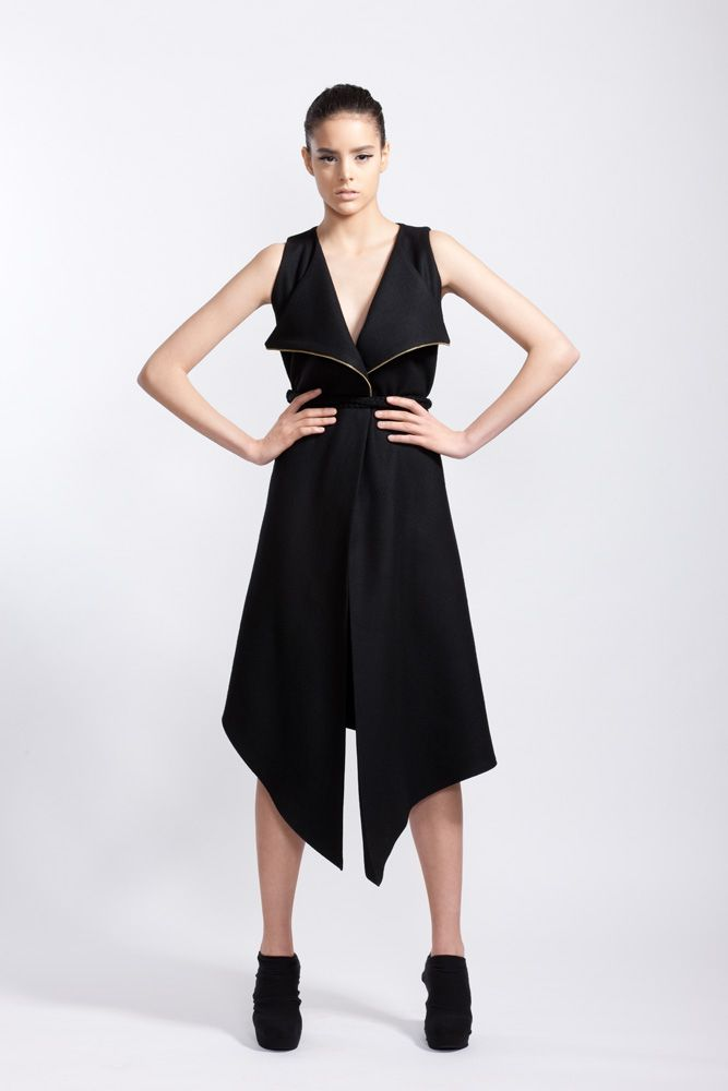 Black Wool Cloth Cropped Dress and Golden Metal Zippers // Fall 11 Photo : Macri Studio