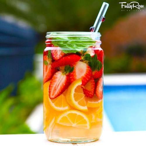 FullyRaw Strawberry Basil Fruit-Infused Lemonade! Nature's best vitamin water! REFRESH. REPLENISH. HYDRATE!