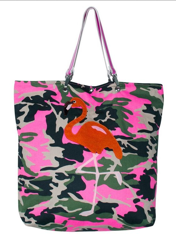Bag in camouflage print with flamingo appliqué.