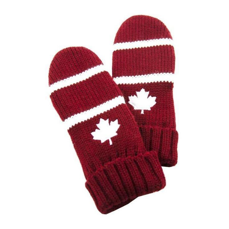 Women Knitted Embroidered Red & White Maple Leaf Lined Mittens NWT NEW #Simi #Mittens