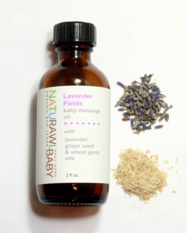 LAVENDER FIELDS BABY MASSAGE OIL with grape seed oil / wheat germ oil / lavender pure essential oils/ promotes relaxation / 2 fl oz / vegan / housed in reusable amber glass bottle / + plants a tree / safe and gentle for babies / six weeks and older / pour a small amount of oil into hands and rub together to warm. gently massage baby from head to toe, avoiding the face and eyes.