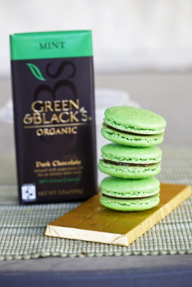 Mint macarons with a mint chocolate ganache filing are perfect for an after dinner treat!