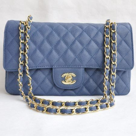Chanel 2.55 Series Caviar Leather Flap Bag 1112 Blue Golden - Dobestbuy Chanel USA Online Shop - Cheap Chanel Handbags USA Online Sale,Get 79% Discount Off Now!