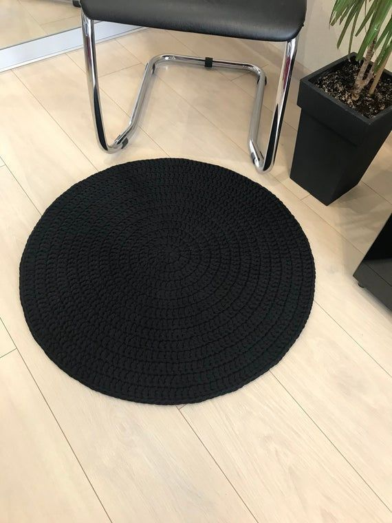 Black Round Rug Crochet Circle Rug Round Rug Door Mat Round Rug Small Rug Living Roo Area Black C In 2020 Small Area Rugs Round Carpets Round Carpet Living Room