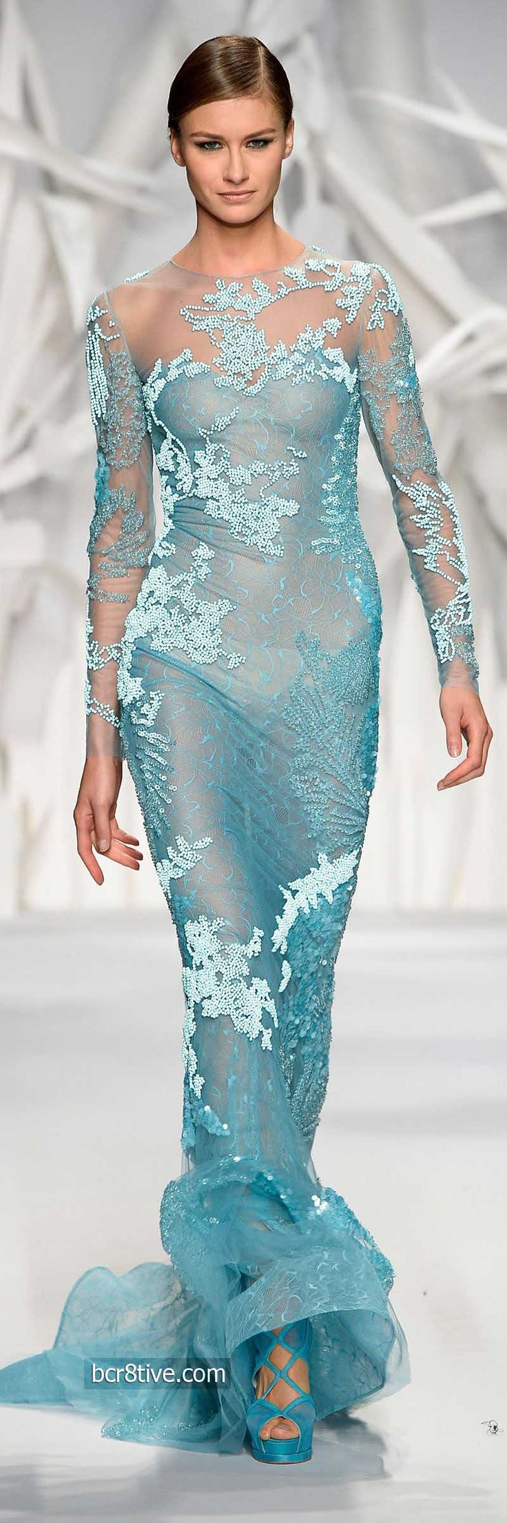 Abed Mahfouz Fall Winter 2014 Haute Couture  This is a beautiful dress and it would look even better if it were lined so that her breasts and underwear didn't show. Why would anyone want to wear a dress like this?