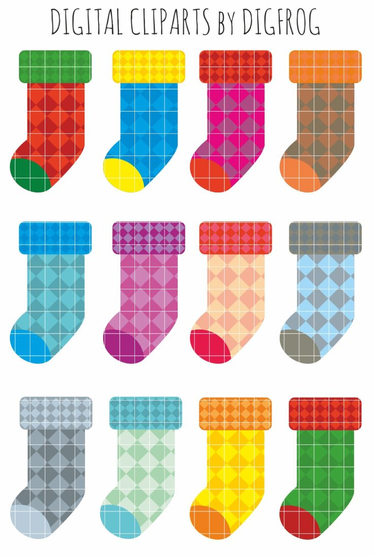 Colourful socks clipart, christmas socks, paper crafts, nursery decor, card making, cupcake toppers, scrapbooking, socks picture, red sock by DigiFrog on Etsy