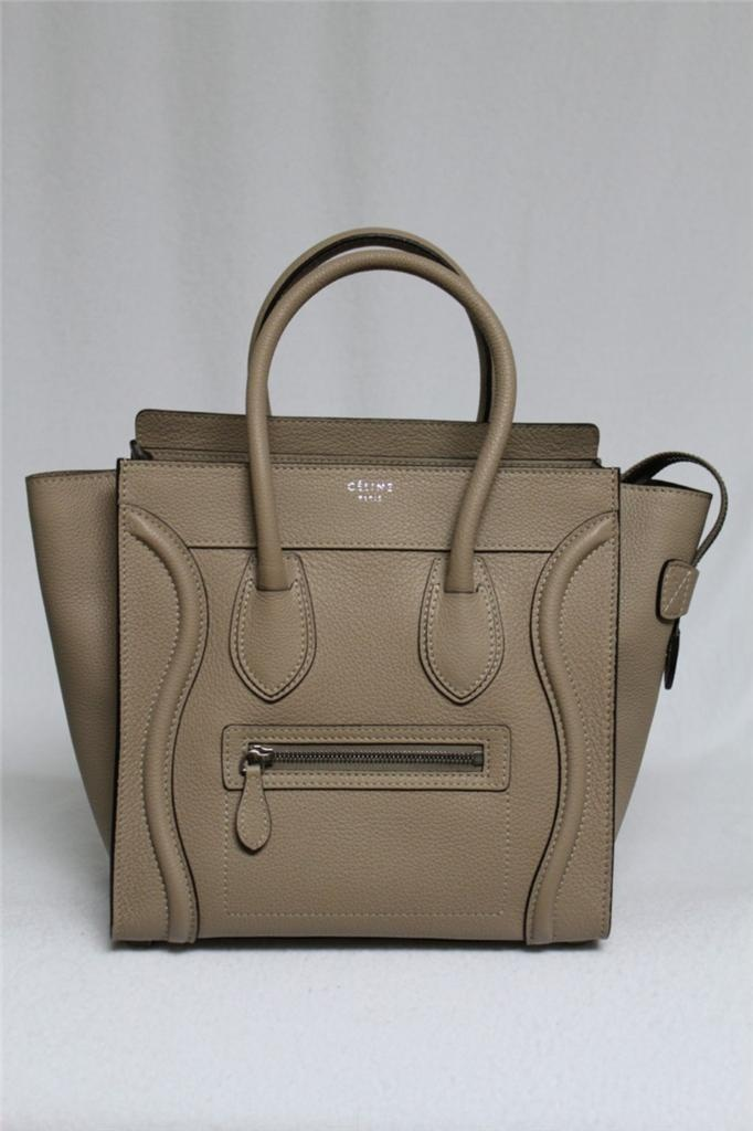 New Celine Small Micro Dune Luggage Pebbled Leather Tote Bag Sold ...