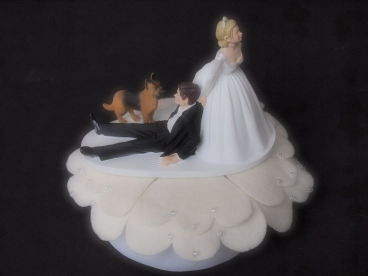Bride Groom And Dog Cake Topper