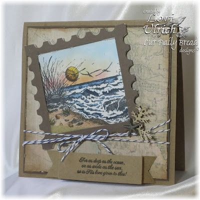 A shaker card using Spellbinders Postage Stamps, Standard Squares Large and Ultrafine Flower Soft.  The image (Our Daily Bread Designs' The Mighty Sea) was colored with copics and Memento ink.)