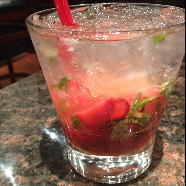 Basil Cocktail: Strawberries in syrup, sweet n sour mix, club soda ...