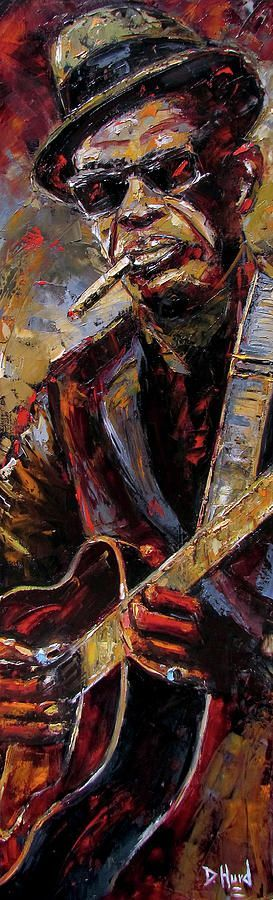Lightnin' Hopkins Painting - Lightnin Hopkins by Debra Hurd