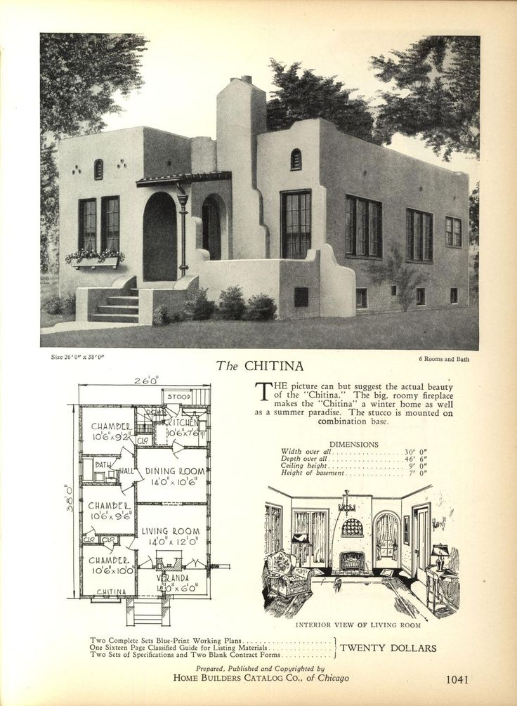 Spanish revival bungalow house plans for Bungalow house blueprints