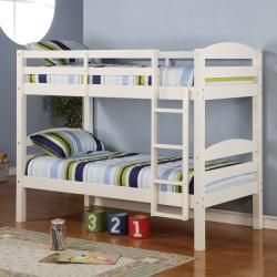Twin Over Twin Solid Wood White Bunk Bed | Overstock.com Shopping - The Best Deals on Kids' Beds