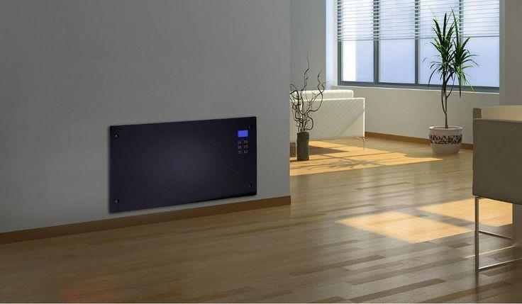 Radiateur électrique design Noir Ecran LED 86x9x47cm sur Jardindeco