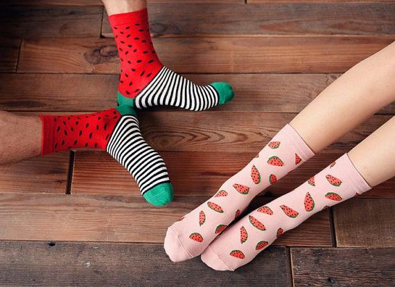 footyfoot collection cute water melon lemon egg banana carrot food kitchen theme socks for men/woman/couple/lover red green yellow blue pink