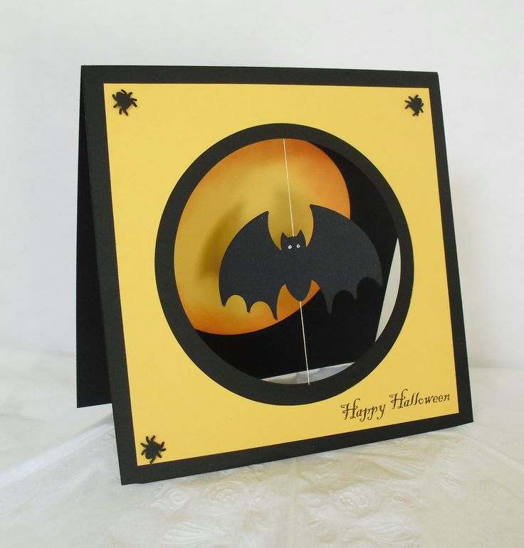 handmade bat card: Kinetic Card ... Spinner Technique ... bat in open window cut spins when card pulled from envelop ... luv the bold yellow with black  ... fab mod look!