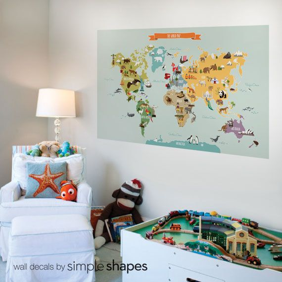 Aqua And Pink World Map Girls Room