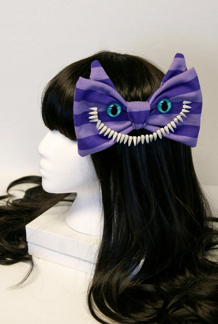 Alice and Wonderland Purple Striped Cheshire Cat Hair Bow - Made to Order. $45.00, via Etsy.