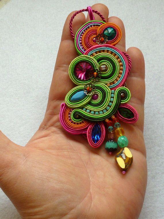Necklace Pendant Soutache Colorful Swarovski Elegant Ethno Boho Glamour Anhänger…