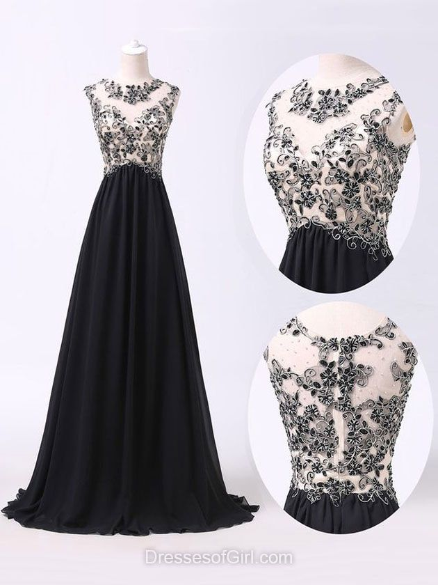 Black Prom Dresses, Long Prom Dress, Princess Evening Dresses, Scoop Neck Party Dresses, Chiffon Formal Dresses