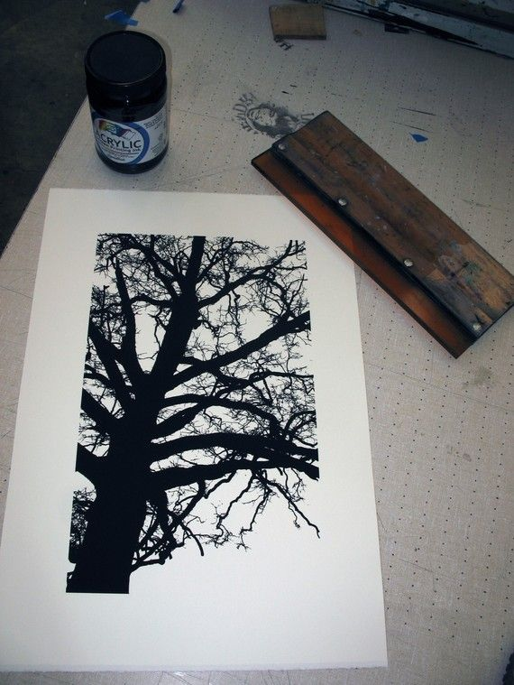 River Oak: Original Serigraph / Screen Print Limited Edition of 24 by chrisheldstudios on Etsy