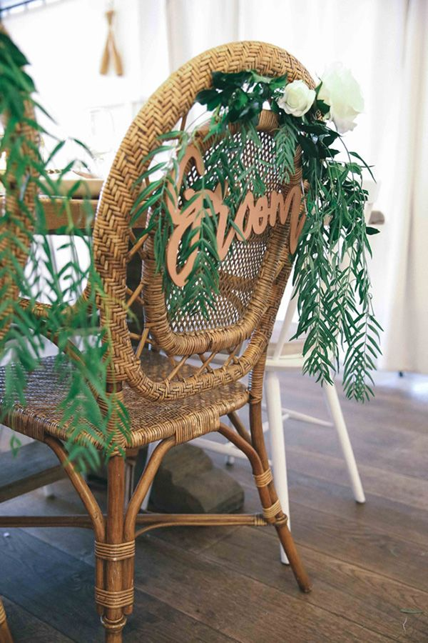 Rattan Chairs With Signs | Amy MacKay Photography
