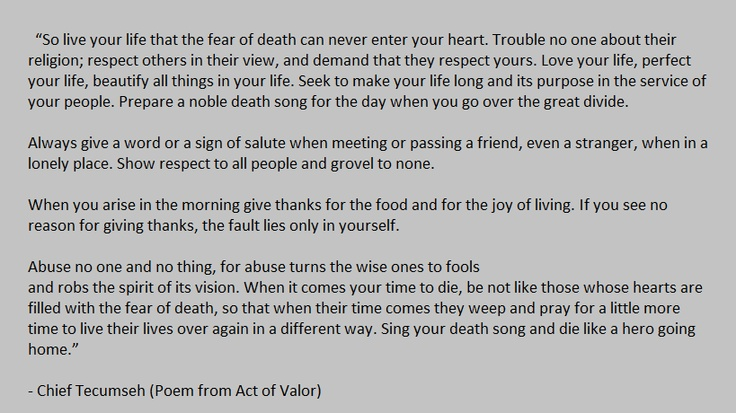 Chief Tecumseh (Poem from Act of Valor)