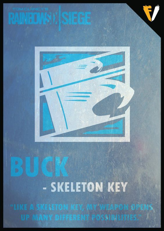 """Sébastien """"Buck"""" Côté is an Attacking Operator featured in Tom Clancy's Rainbow Six Siege, introduced in the Operation Black Ice DLC expansion alongside Frost. A Medium Armored Operator, Buck's unique gadget is an under-barrel mounted shotgun known as the """"Skeleton Key"""", which can be used for creating breaches with ease."""