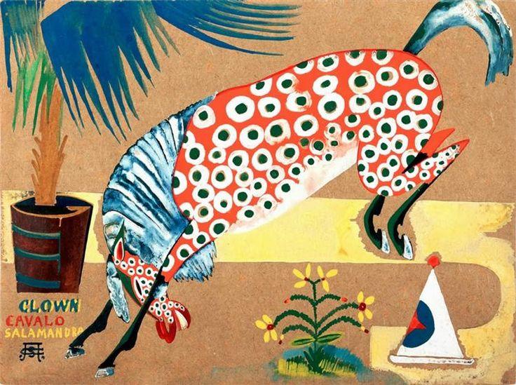 Sem título (Clown, Cavalo, Salamandra) - Souza-Cardoso Amadeo de