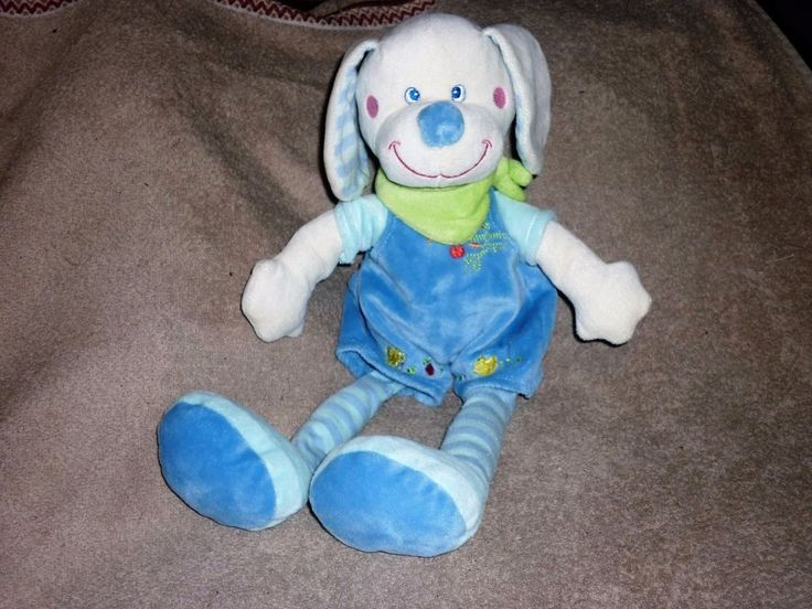 MOTS D'ENFANTS doudou chien bleu env 33 cm