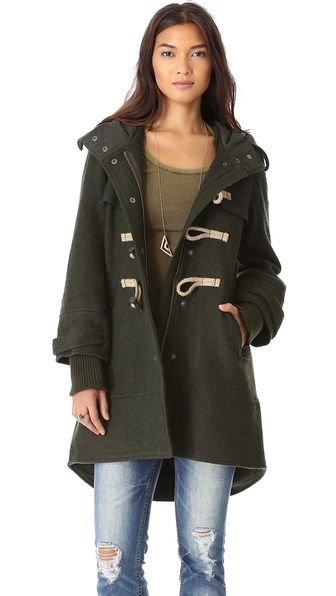 Can't remember if I already pinned this, but that's how bad I want it - Free People Boiled Wool Military Pea Coat