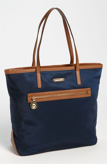 $138, Navy Canvas Tote Bag: MICHAEL Michael Kors Michl Michl Kors Kempton Nylon Tote Large Navy. Sold by Nordstrom. Click for more info: https://lookastic.com/women/shop_items/247859/redirect