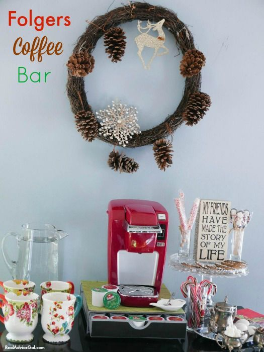 Welcome guests to your home warmly by having delicious coffee and treats. Read these tips on how to set up a Folgers Coffee Bar. #AD