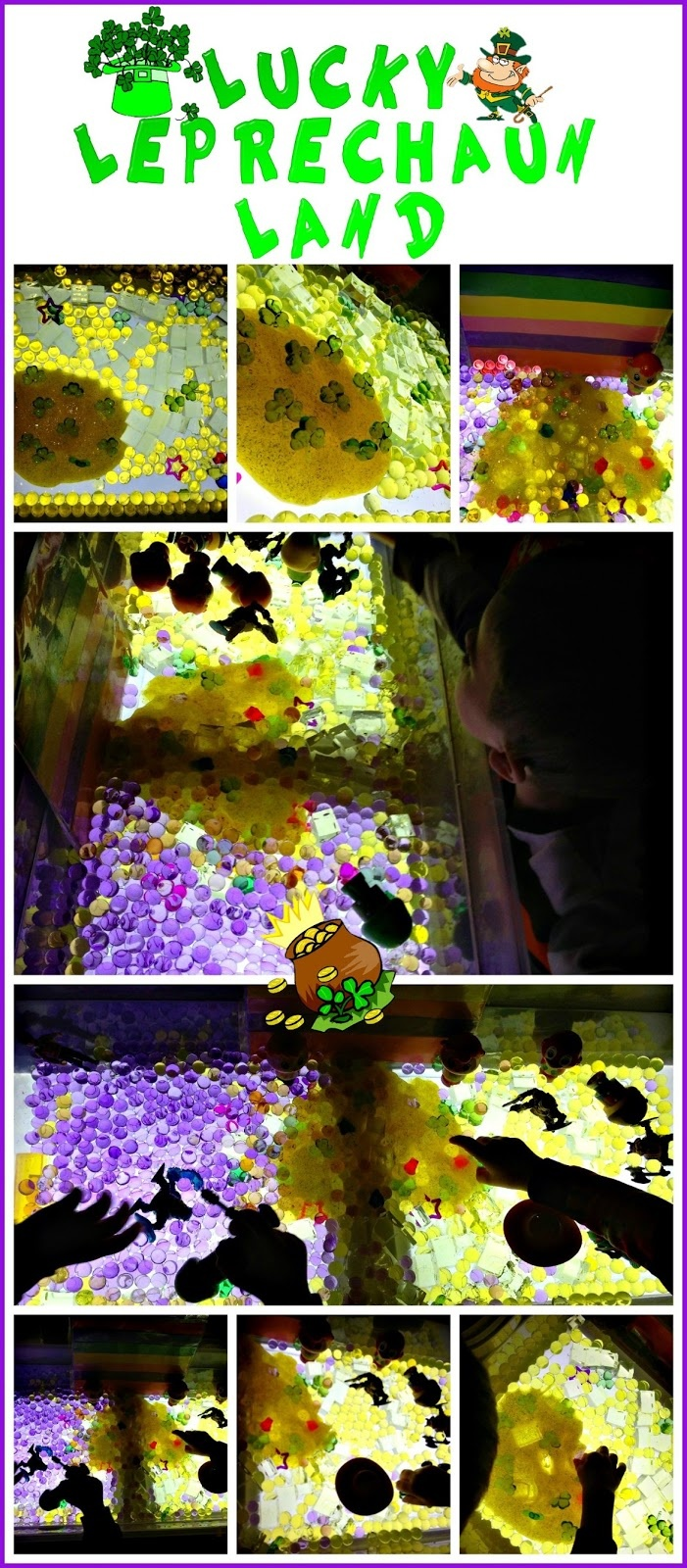 Lucky Leprechaun Land with water beads, silly squares, and coconut scented golden glitter silly putty!