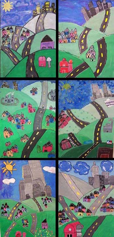 JJohn Post - Layered Landscape Paintings -- great link with urban and rural communities - grade 3