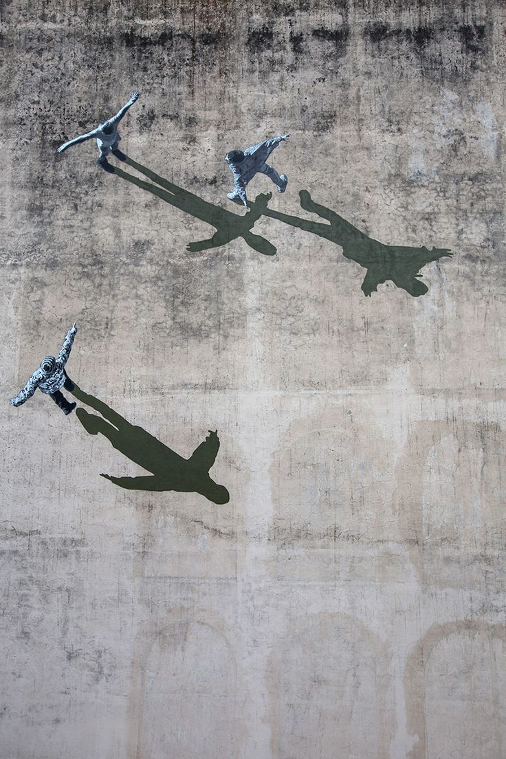 Shadowy Optical Illusion Mural by Strøk in Italy street art stencils shadows murals