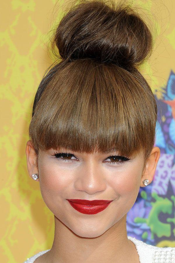 bun with bangs                glamradar.com