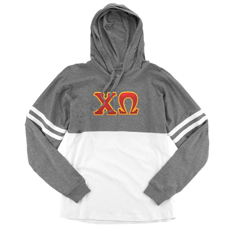 Chi Omega Spirit Jersey . Hoodie . Stitched Greek Letters