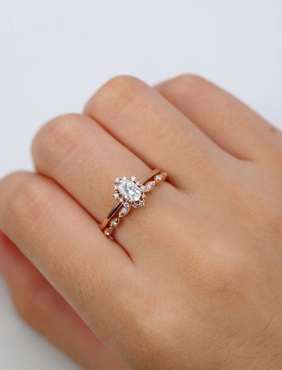 Oval Moissanite Engagement Ring Set Women Wedding band women Yellow gold Anniversary gift for her Oval shaped bridal set wedding set